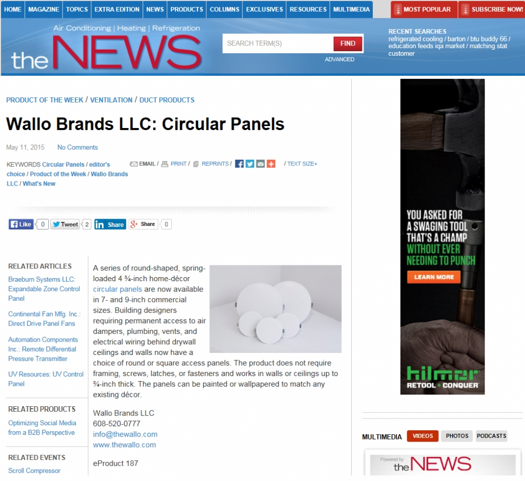 5-22-2015 AHR NEWS Magazine Product of the Week - Wallo round access panels